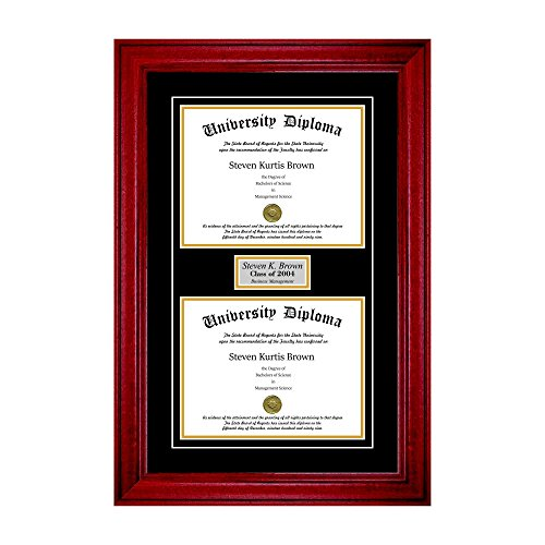 Personalized Double Diploma Frame with Double Matting for 17'' x 14'' Tall Diploma with Cherry 2'' Frame by Perfect Cases (Image #5)