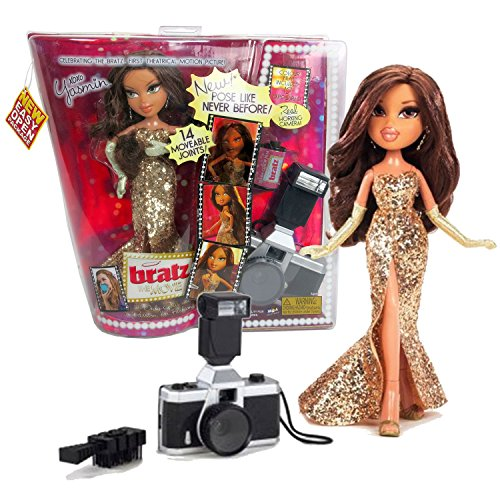 MGA Entertainment Bratz The Movie Series 10 Inch Doll Set - Movie Stars YASMIN in Golden Dress with Gloves, Film Roll, Hairbrush and Camera ()