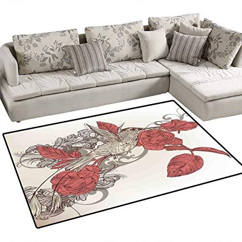 Hummingbirds Decorations Queen Size Room Home Bedroom Carpet Floor Mat Hummingbird on Rose Flower Branch Ornamental Vintage Style Illustration Floor Mat Pattern 40