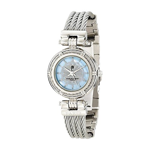Chrome Finish Mop Dial Stnlss Stl Wire Bangle Watch by Charles Hubert Paris Watches, Free Gift Box ()