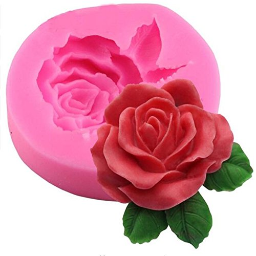 Rose Flower Leaf Handmade Soap Silicone Mold, Fondant Cake Decorating Tools, Gumpaste Chocolate Candy Pastry Sugercraft Baking Mould, Resin Clay Soap Candle Making Mold,Cake Decration Baking Mold
