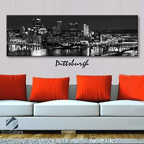 BoxColors - Single panel 3 Size Options Art Canvas Print Pittsburgh City Skyline Panoramic Downtown Night black & white Wall Home Office decor (framed 1.5