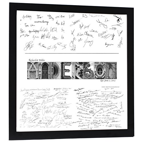 Creative Letter Art Personalized Wedding Book Guest Registry and Architectural Name Sign includes 20 by 20 inch Frame with Collage and Signature Mat - Best Wedding Gift ()