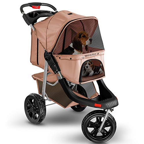 Dog Stroller for Cat and Dog – Deluxe 3-Wheel Pet Strollers for Small and Medium Cats, Dogs, Puppy – Beige
