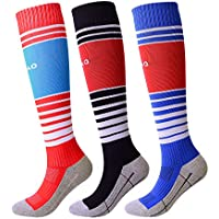 KALAKIDS Kids Soccer Socks Long Stripe Knee High Football...