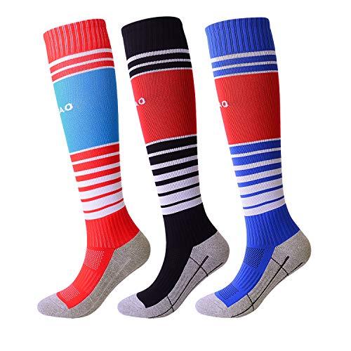 Striped Soccer Socks for Kids Long Tube Cushioned Cotton Bottom Boys Girls Football Socks 3 Pack - Socks Football Striped