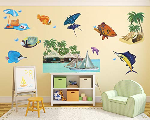 (DIY 3D Wall Decoration Decals Removable Home Decor Wall Stickers Beach Landscape with Seaside Resort Ocean Fish Sailboat for Kid's Room Living Room Bedroom)