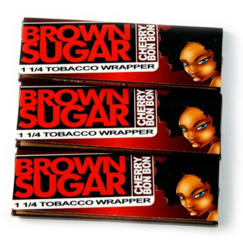3 booklets x BROWN SUGAR Cherry Bonbon 1 1/4 Rolling paper