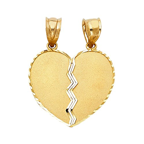14K Yellow Gold Couple Broken Heart Pendant - (Height 20 MM Width 20 MM) by Top Gold & Diamond Jewelry