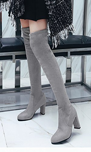 Aisun Womens Elegant Slim Dressy Lace Up Round Toe Chunky High Heel Above The Knee High Boots Shoes Gray 23GzW4L