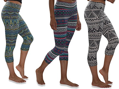 Womens 3 Pack Buttery Soft Brushed Active Stretch Yoga Cropped Capri Skinny Pant Leggings (3 Pack-Prints Collection 3, X-Large)