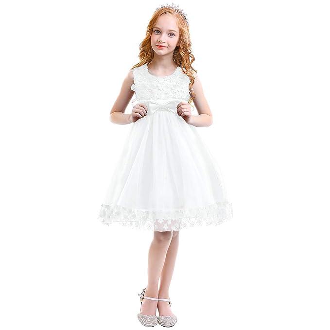 c13042f7a0d6 OBEEII Bambine Ragazze Fiore Pizzo Abito Lungo Senza Maniche Elegante  Princess Tulle Abito da Nozze Sposa