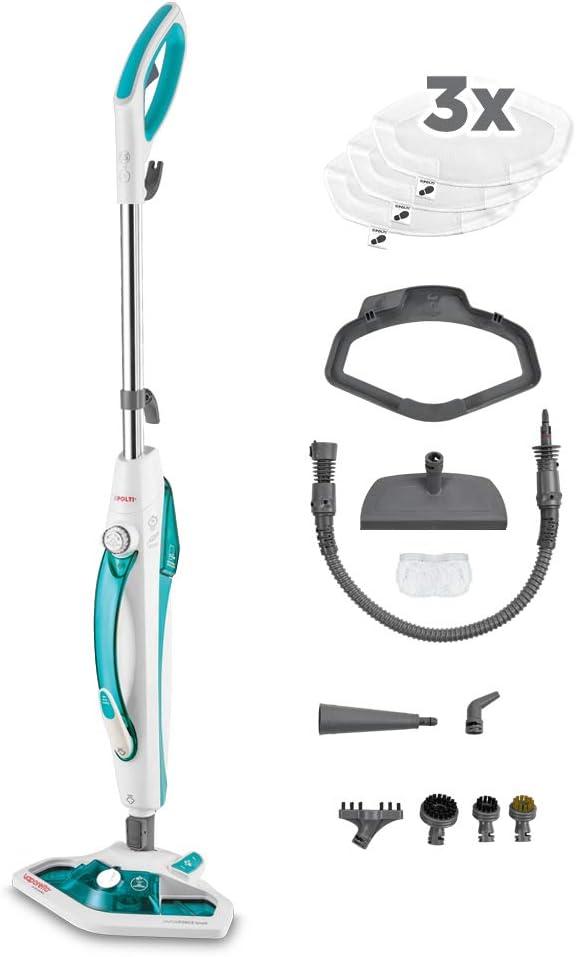 Polti Vaporetto SV450_DOUBLE, balai vapeur double fonction avec nettoyeur à main, serpillières supplémentaires, Brosse Vaporforce, 13 accessoires. Tue et élimine 99,9%* des virus, germes et bactéries