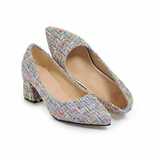 Mee Shoes Damen Blockabsatz Slip On Geschlossen Pumps Blau