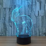 Cheap Kingchip Unicorn 3D Lamp 7 Color USB Decorative Table Lamp LED Sleep Lights Children Christmas Gift Advertising Lights
