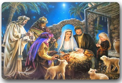 Christmas Nativity Holy Family, Tree--Three Wisemen Christmas 15.7''(W) x 23.6''(H) Non-woven Fabric Multifuntional Doormat by Doormats