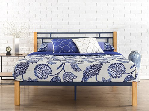(Zinus Taylan Metal and Wood Platform Bed / Mattress Foundation / Wood Slat Support, Twin)