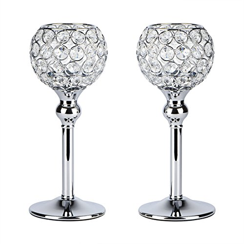 Wedding Candle Holder Centerpiece Decor - Autai 2pcs Silver Crystal Candle Holder for Wedding Centerpieces Candlesticks Birthday Party Dining Table Candlelight Home Decoration
