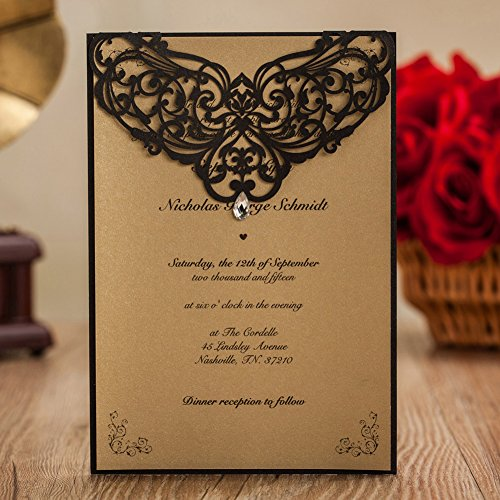 Wishmade 50x Vintage Printable Laser Cut Wedding Invitations Cards with Rhinestone Rustic Invitations for Engagement Quinceanera Marriage Birthday Baby Shower(set of (Rustic Wedding Invitation Kits)