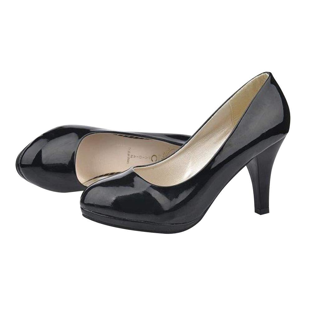 Daytwork Femmes Escarpins Plateforme Fermetures Aiguille 7cm Bout Rond Briller Pumps Chaussures duniformes habill/ées Travail Affaires Talons Hauts