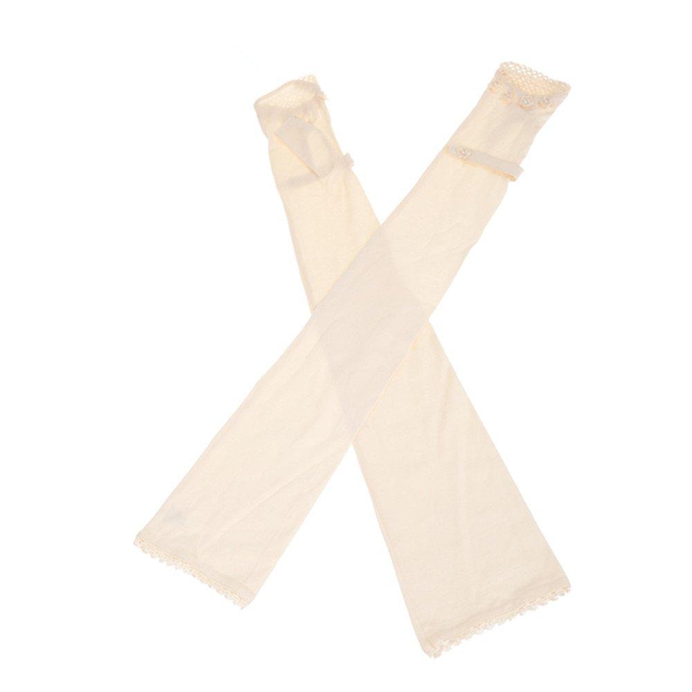 New Summer Women Outdoor 100% Cotton Uv Protection Sun Driving Long Gloves Mittens KM-2972