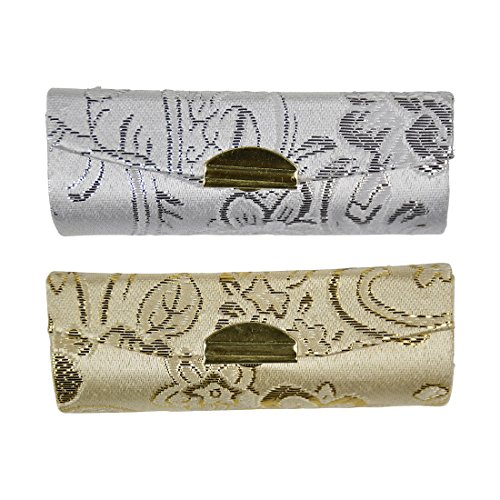 Lipstick Case with Elegant Paisley Design - Set of 2 - Gold
