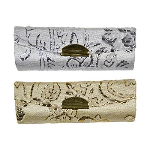 Lipstick Case with Elegant Paisley Design - Set of 2 - Gold