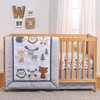 The Peanutshell Woodland Walk Crib Bedding Set for Boys or Girls | 3 Piece Nursery Set | Crib Quilt, Fitted Sheet, Crib Skirt