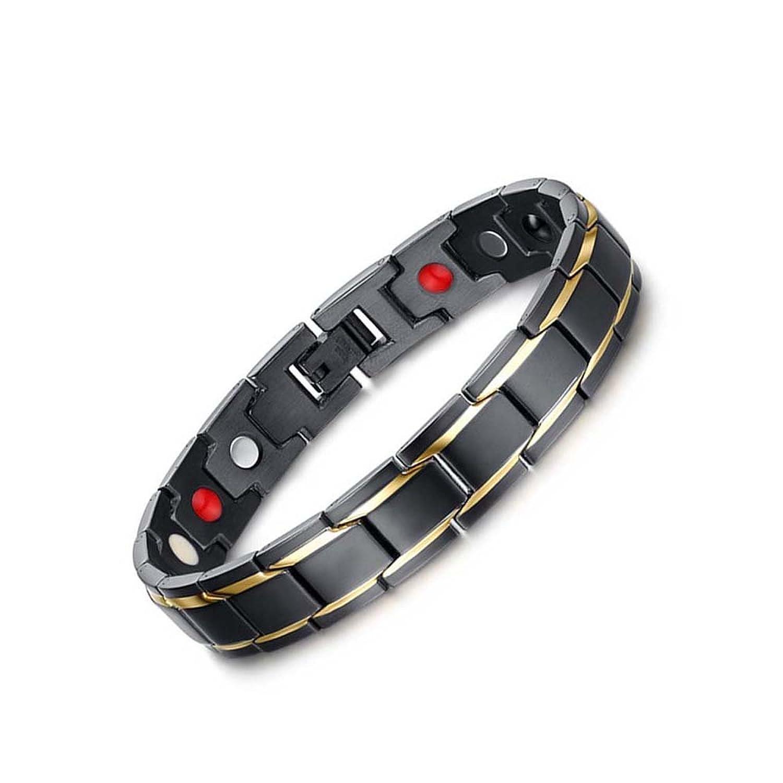 Para hombre pulseras de la salud magnéticos elegante del oro Negro con