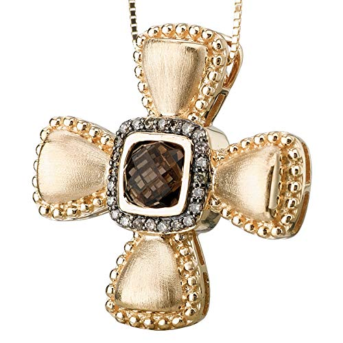 - 14k Yellow Gold Over .925 Silver Chunky Cross Pendant with Smoky Quartz and Cognac CZs (0.94ctw)