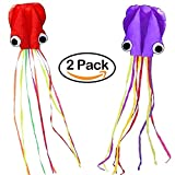 #7: JSDOIN 2 pack Kite-Beautiful Large Easy Flyer Kite for Kids - Red Mollusc octopus-It's BIG! 31 Inches Wide with Long Tail 157 Inches Long-Perfect for Beach or Park by kite Send 30 meters line