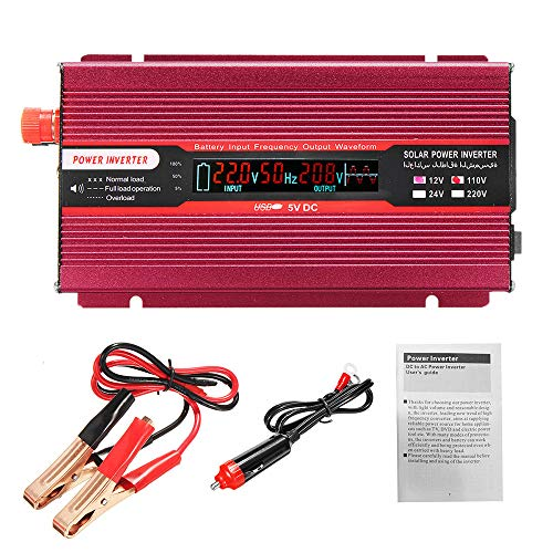 US Stock 2000W Inverter Solar Power Generator, ASOBIMONO Portable Car Charger DC 12V to 110V AC Converter with Charging Port Outlets & USB Ports, Cooling Fans (Red, 7.28