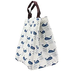 Mziart Reusable Insulated Lunch Bag Tote Soft Cooler Carry Bag for Travel and Picnic (Cute Whale)