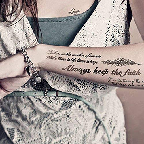 Kotbs Temporary Tattoos Paper Lovely English Words & Feather Designs Body Art Make up for Women Fake Tattoo Sticker (2 Sheet Pack) (Best Place To Get A Quote Tattoo)