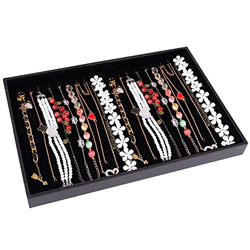 Wuligirl 20 Hooks Necklaces Box Velvet Jewelry Showcase Necklace Tray Jewelry Display Stackable, Black (Necklace Tray)