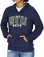 Zubaz NFL Seattle Seahawks Women's Soft Hoodie with Vertical Graphic, Navy Blue, X-S