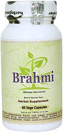 Brahmi (Bacopa Monnieri) (Leaves & Whole Plant) (Ayurvedic Stress Relief Formulation), 60 Vege Capsules, 800 Mg Each Extract Ratio (20:1) (Concentrated)
