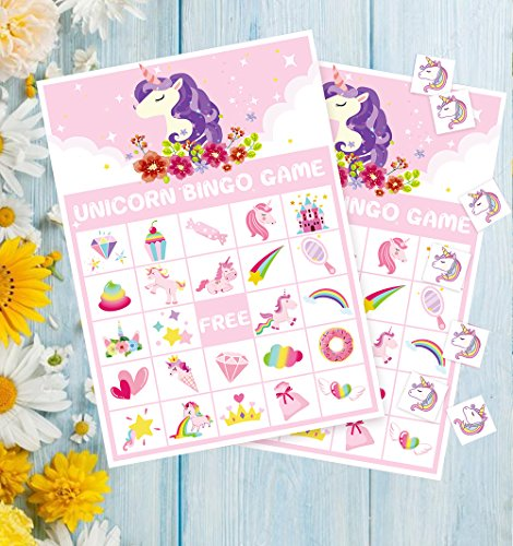 Unicorn Bingo Game Party Supplies - Girls Magical Rainbow Birthday Favors Decorations (24 Players) by Moon Boat