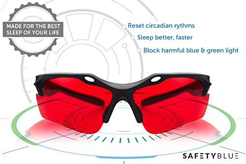 Sleep Savior™ Red Night Glasses – Blocks More Disruptive Light Than Blue Blockers – for Men and Women – Therapeutic Lenses to Increase Melatonin Naturally and Help You Sleep Better -