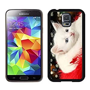 2014 Latest Lovely White Christmas Cat Red Fur Samsung Galaxy S5 Black Silicone Case,Samsung I9600 Case