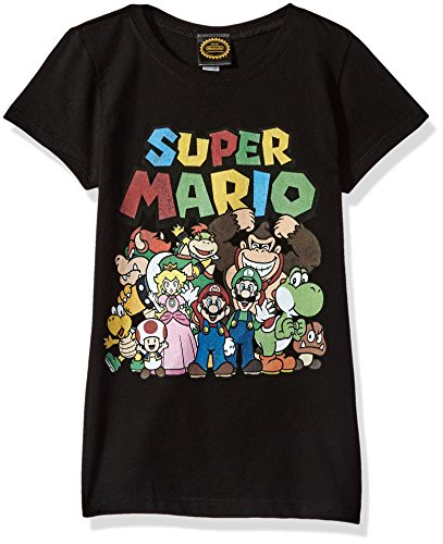 Nintendo Little Girls Super Mario Group Shot Graphic T-shirt, black, M -
