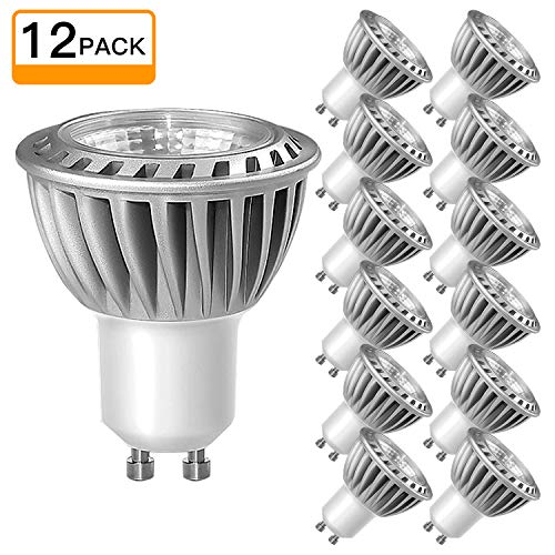 SHINE HAI GU10 Led Light bulbs 50W Equivalent, 100% Aluminum Reflector 5000K Daylight White, 40 Degree Beam Angle, CRI>85, Non-Dimmable, Pack of 12