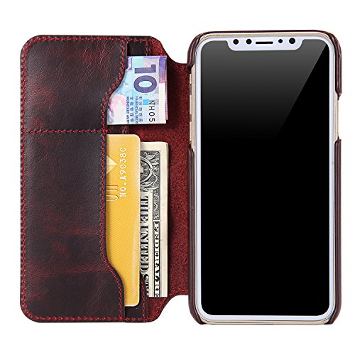 iPhone X Case, Reginn Waxed Leather Wallet Case with [Card Slot] [Cash Pocket] and [Stand Function] [Wireless Charging Compatible] Folio Cover for 5.8 Inch Apple iPhone X (Wine Red) by Reginn (Image #3)