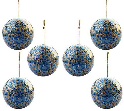 - Set of 6 - Paper Mache Baubles Set Christmas Balls Tree Ornaments Decorations- Xmas Gifts for Home