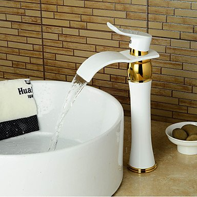 GDS Faucet£¬ Modern bathroom sink faucet tall waterfall wide hand painted Ti-PVD-white + gold