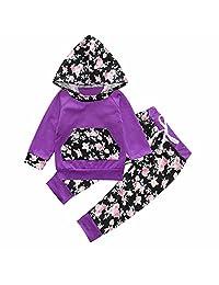 Baby Girl Purple Floral Long Sleeve Hoodie Pocket Tops Sweatsuit Pants Sets