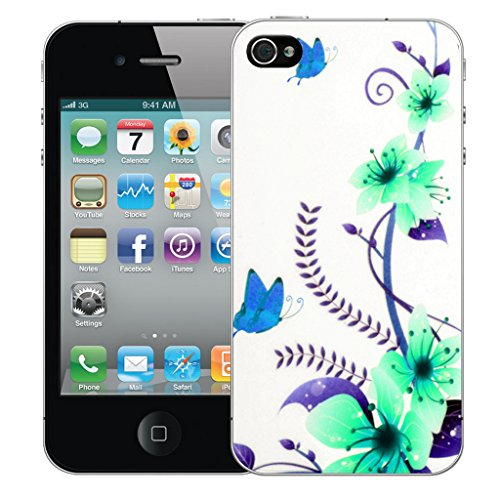 Mobile Case Mate iPhone 4s Silicone Coque couverture case cover Pare-chocs + STYLET - Blue Butterfly pattern (SILICON)