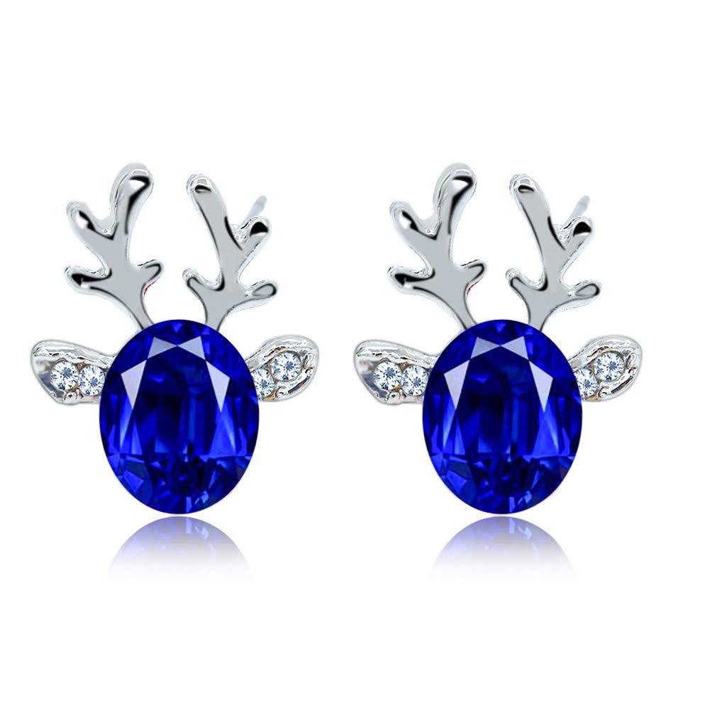 NiceButy Crystal Gemstone Earrings Luxury Three-dimensional Christmas Reindeer Antler Earrings Gift (Blue) Christmas Decorations