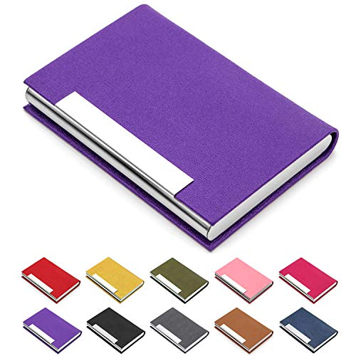 - Business Card Holder, Business Card Case Luxury PU Leather & Stainless Steel Multi Card Case,Business Card Holder Wallet Credit Card ID Case/Holder for Men & Women. (Purple)