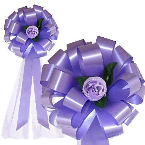 Lavender Wedding Pull Bows with Tulle Tails and Roses - 8